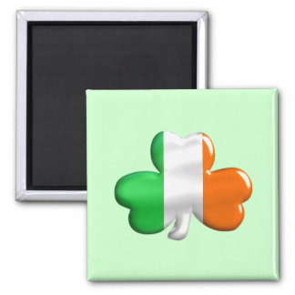 Irish Flag Clover Square Magnet