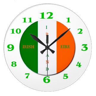 Irish Flag for Round-Large-Wall-Clock Large Clock