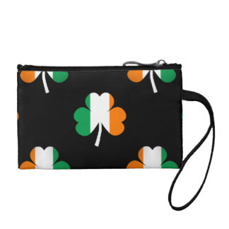 Irish Flag-Green/White/Orange-Colored Shamrocks Coin Purse