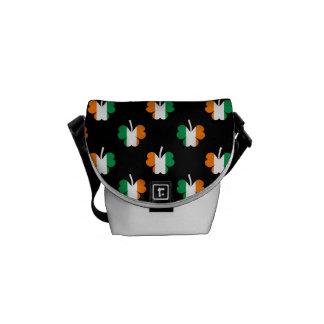 Irish Flag-Green/White/Orange-Colored Shamrocks Messenger Bag