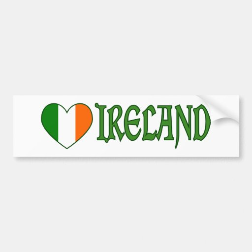 Irish Flag Heart Ireland Bumper Stickers
