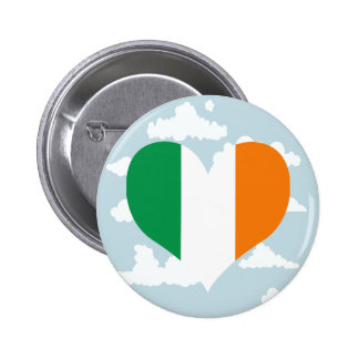 Irish Flag on a cloudy background 2 Inch Round Button