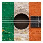 Irish Flag on Old Acoustic Guitar Print