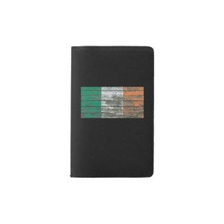 Irish Flag on Rough Wood Boards Effect Pocket Moleskine Notebook