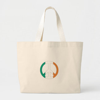 Irish Flag Peace Symbol Tote Bags