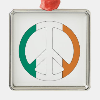Irish Flag Peace Symbol Christmas Ornament