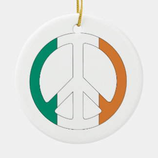 Irish Flag Peace Symbol Round Ceramic Decoration