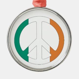 Irish Flag Peace Symbol Silver-Colored Round Decoration