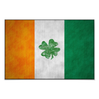 Irish Flag Shamrock Poster