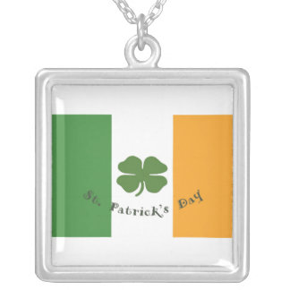 Irish Flag Shamrock Square Silver Necklace