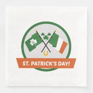 Irish Flag Shamrocks and St Patrick Disposable Serviette