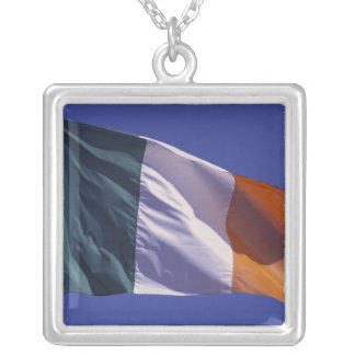 Irish flag silver plated necklace