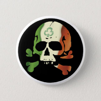 Irish flag skull 6 cm round badge