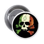 Irish flag skull 6 cm round badge