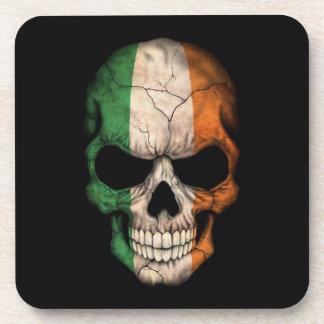 Irish Flag Skull on Black Beverage Coaster