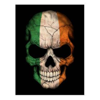Irish Flag Skull on Black Postcard