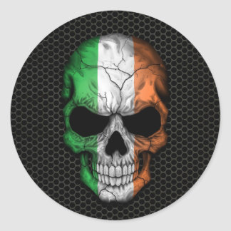 Irish Flag Skull on Steel Mesh Graphic Round Sticker