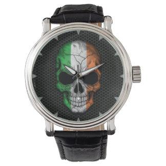 Irish Flag Skull on Steel Mesh Graphic Watch