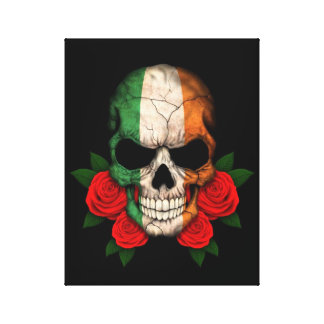 Irish Flag Skull with Red Roses Stretched Canvas Print