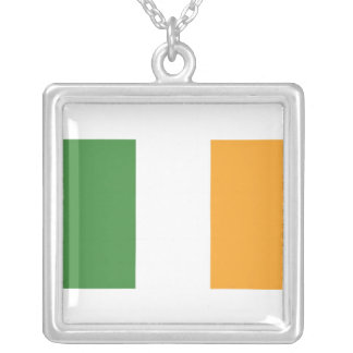Irish Flag Square Silver Necklace