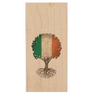 Irish Flag Tree of Life Customizable Wood USB Flash Drive
