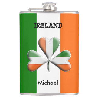 Irish Flag Tri Colors Themed Shamrock Hip Flask