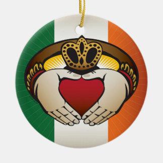 Irish Flag with Claddagh Ring Christmas Ornament