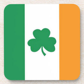 Irish Flag with Clover Drink Coaster