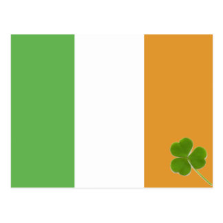 Irish Flag With Shamrock Postcard