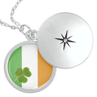 Irish Flag With Shamrock Round Locket Necklace
