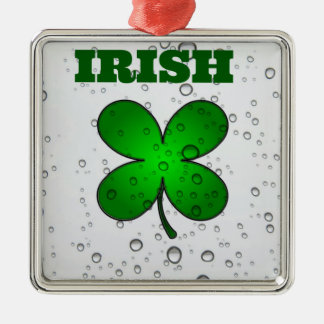 Irish Floating Clover Silver-Colored Square Decoration