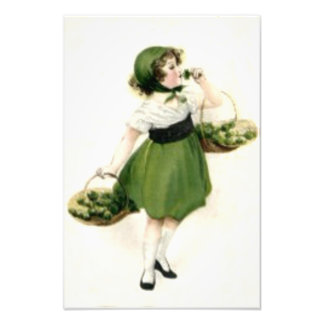 Irish Flower Girl Shamrock Green Photo Print