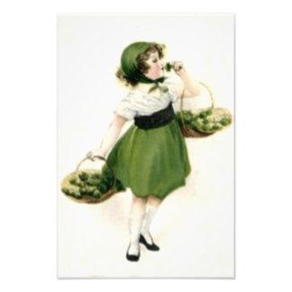 Irish Flower Girl Shamrock Green Photo Print