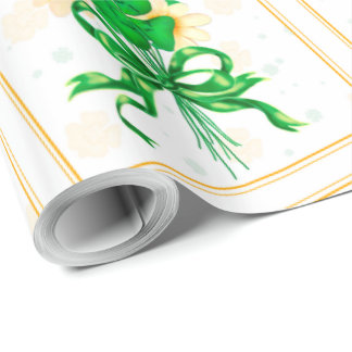 "IRISH FLOWERS 30"" x 45'    CARTOON Wrapping Paper"