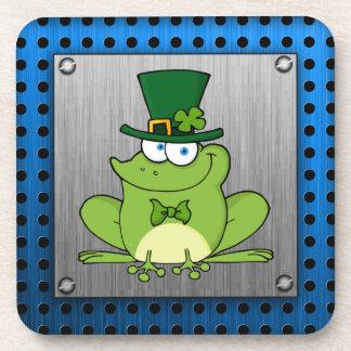 Irish Frog; Metal-look Beverage Coaster