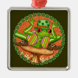 Irish Frog Silver-Colored Square Decoration