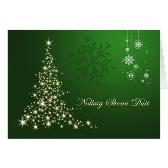 Irish Gaelic Christmas, green gold sparkling tree Card