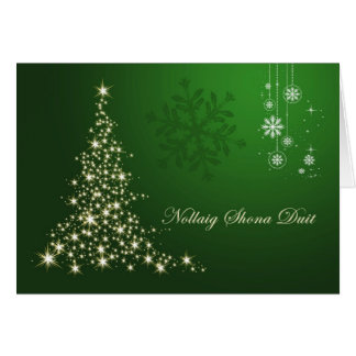 Irish Gaelic Christmas,  green gold sparkling tree Greeting Card