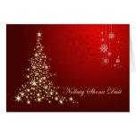 Irish Gaelic Christmas,  red & gold sparkling tree Greeting Card