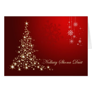 Irish Gaelic Christmas,  red & gold sparkling tree Greeting Card