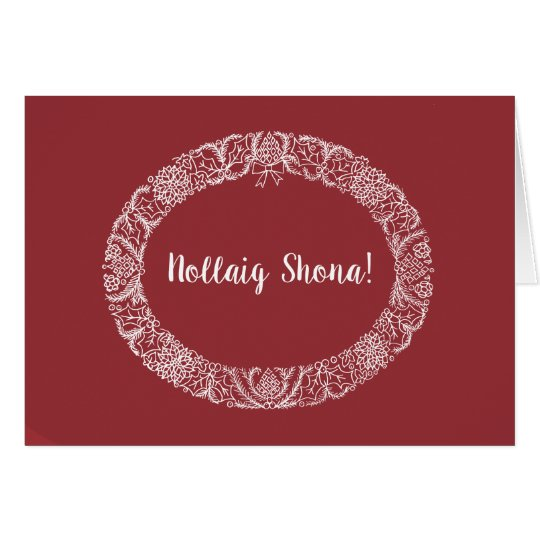 Irish Gaelic Greeting Christmas Wreath White Red Card