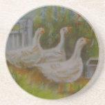 Irish Geese pastel drawing by Joanne Casey - Coast Drink Coasters