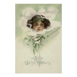 Irish Girl Clay Pipe Smoke Shamrock Poster