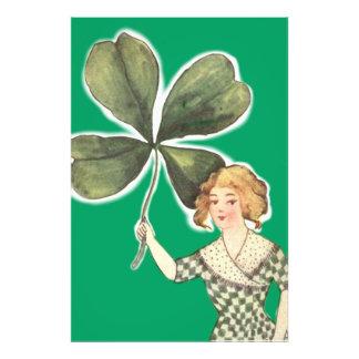 Irish Girl Four Leaf Clover Retro Art Photo