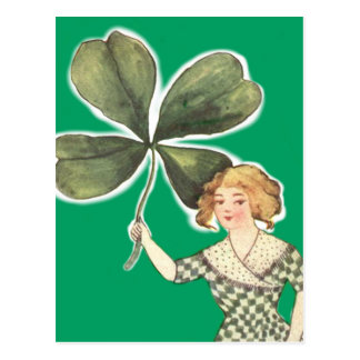Irish Girl Four Leaf Clover Retro Postcard