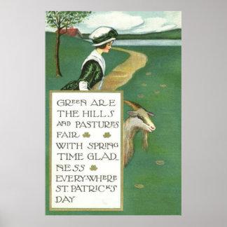 Irish Girl Goat Pasture Poster