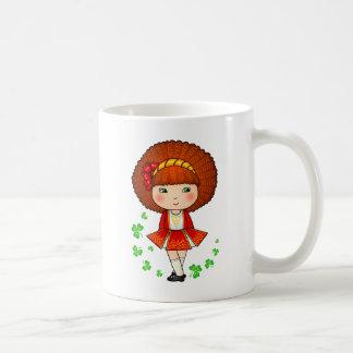 Irish girl in red dress with shamrocks basic white mug
