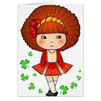 Irish girl in red dress with shamrocks greeting card