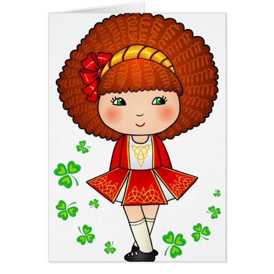 Irish girl in red dress with shamrocks card