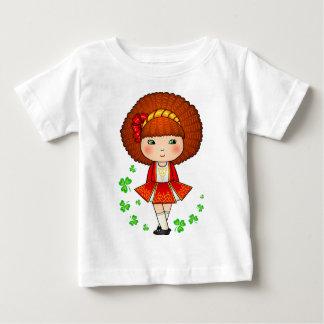 Irish girl in red dress with shamrocks t-shirts